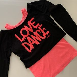 Justice Love Dance Long Sleeve Layer Top Size 8